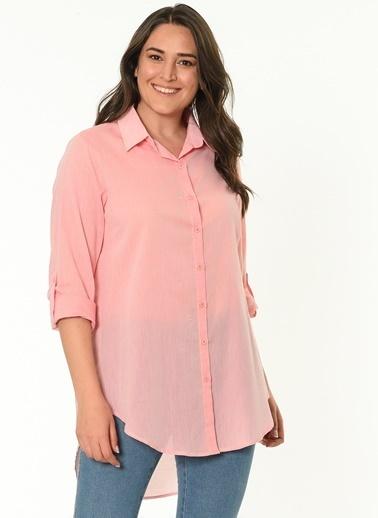 Selen Gömlek Bluz Pembe